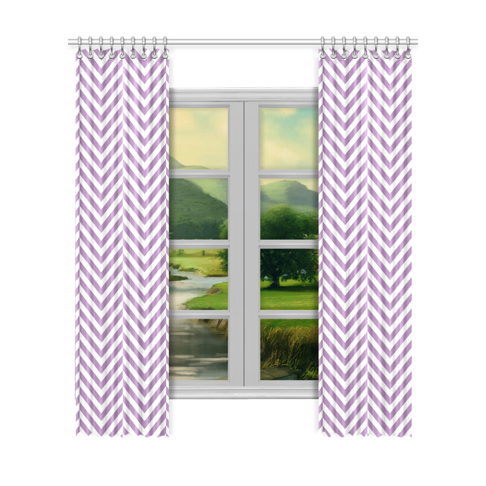 """lilac purple and white classic chevron pattern Window Curtain 52""""x120""""(Two Piece)"""