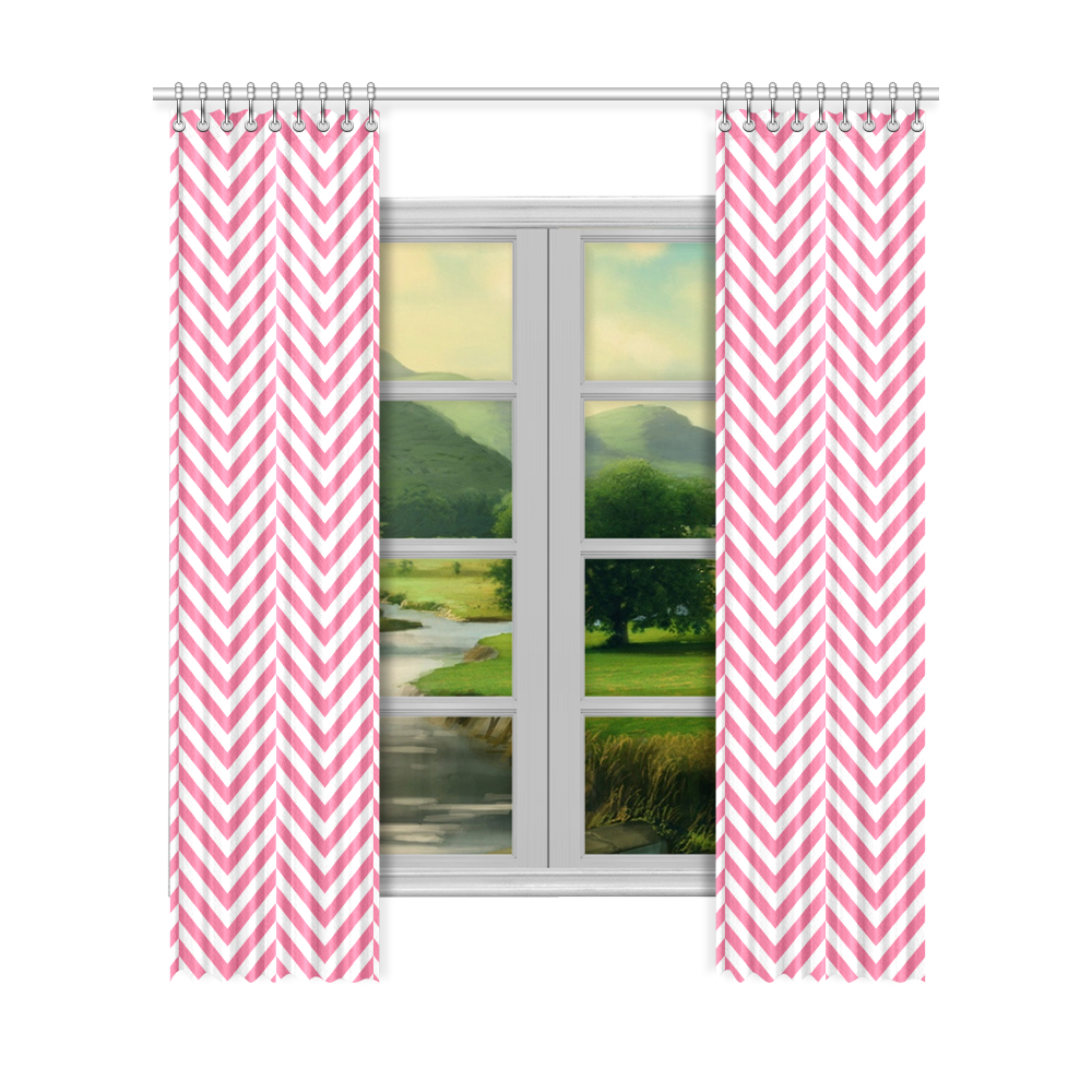 """pink and white classic chevron pattern Window Curtain 52""""x120""""(Two Piece)"""