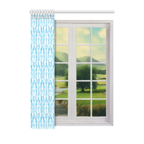 """damask pattern bright blue and white Window Curtain 52"""" x 72""""(One Piece)"""