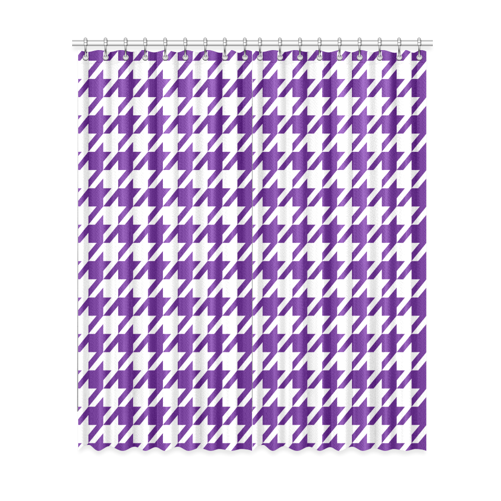"""royal purple and white houndstooth classic pattern Window Curtain 52""""x120""""(Two Piece)"""