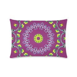 "Circle Dance Yellow Leaves Flower Matrix Mandala Wine Custom Rectangle Pillow Case 16""x24"" (one side)"