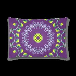 "Circle Dance Yellow Leaves Flower Matrix Mandala Plum Custom Zippered Pillow Case 20""x30"" (one side)"