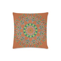 "Glowing Green Flower Vines Branches Matrix Mandala Sienna Custom Zippered Pillow Case 16""x16"" (one side)"