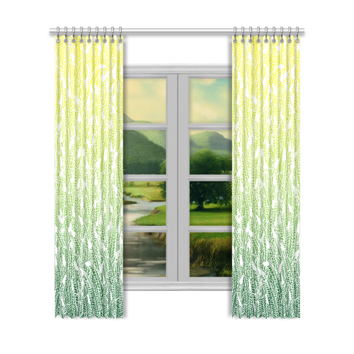 """yellow green ombre feathers pattern white Window Curtain 52""""x120""""(Two Piece)"""