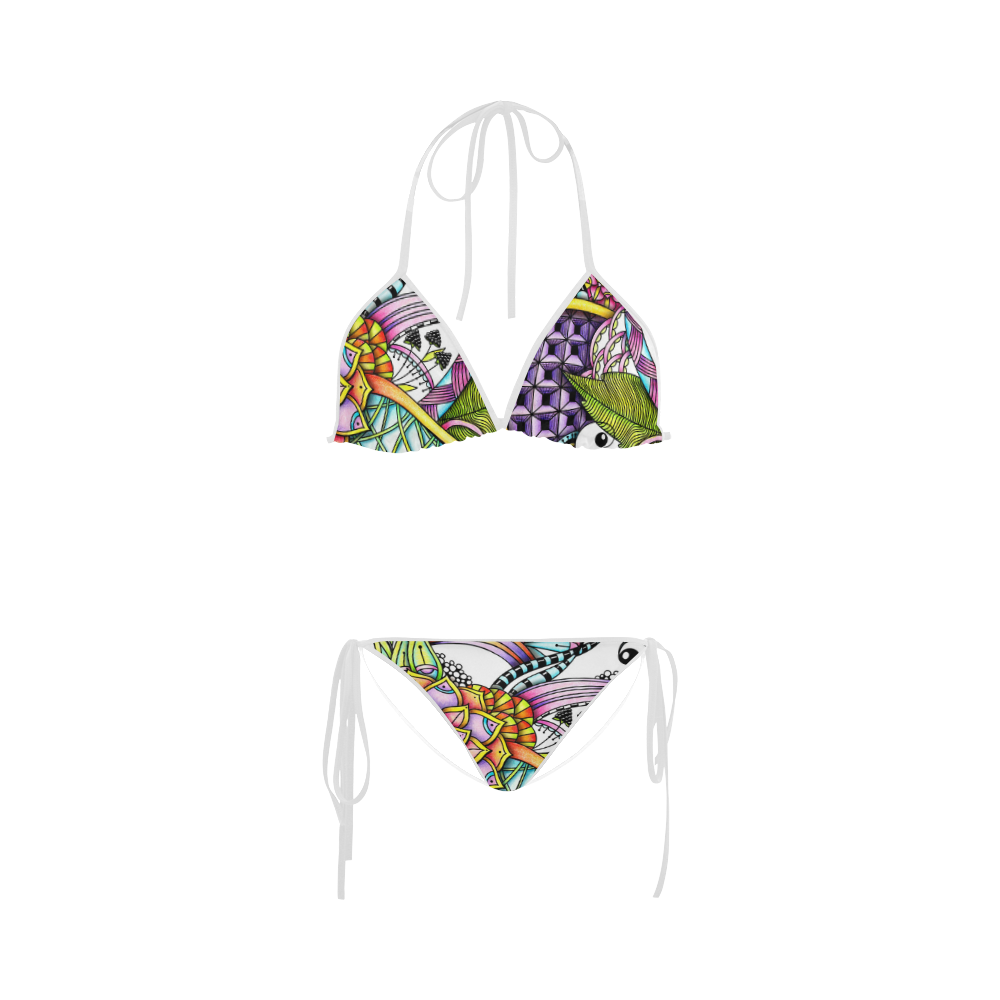 colorful abstract flower drawing Custom Bikini Swimsuit