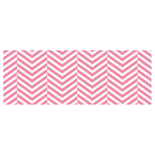 pink and white classic chevron pattern Travel Mug (Silver) (14 Oz)