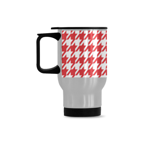 red and white houndstooth classic pattern Travel Mug (Silver) (14 Oz)
