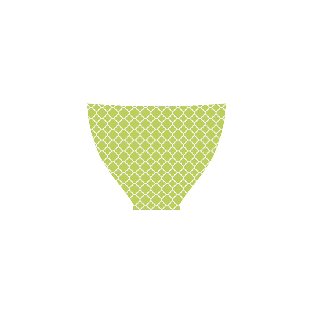spring green white quatrefoil classic pattern Custom Bikini Swimsuit