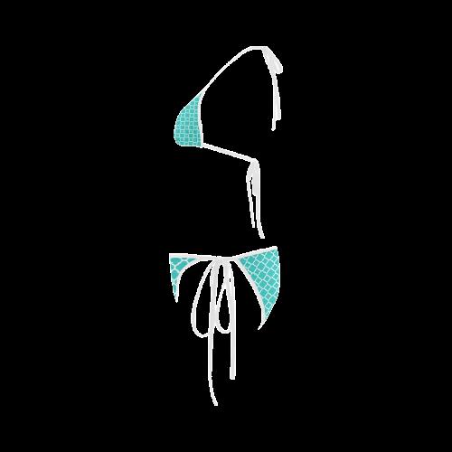 turquoise white quatrefoil classic pattern Custom Bikini Swimsuit
