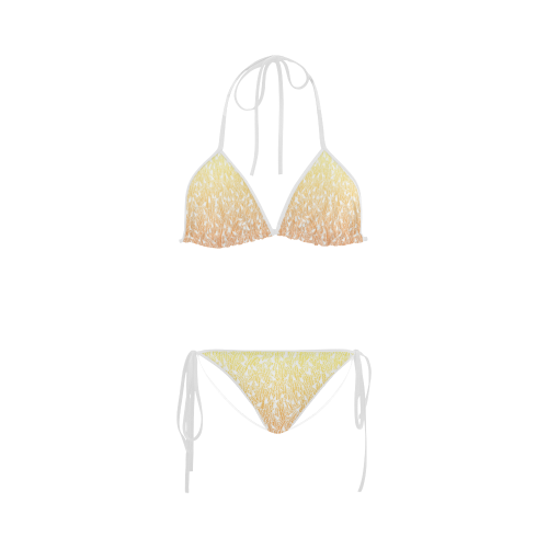 yellow orange ombre feather pattern white Custom Bikini Swimsuit