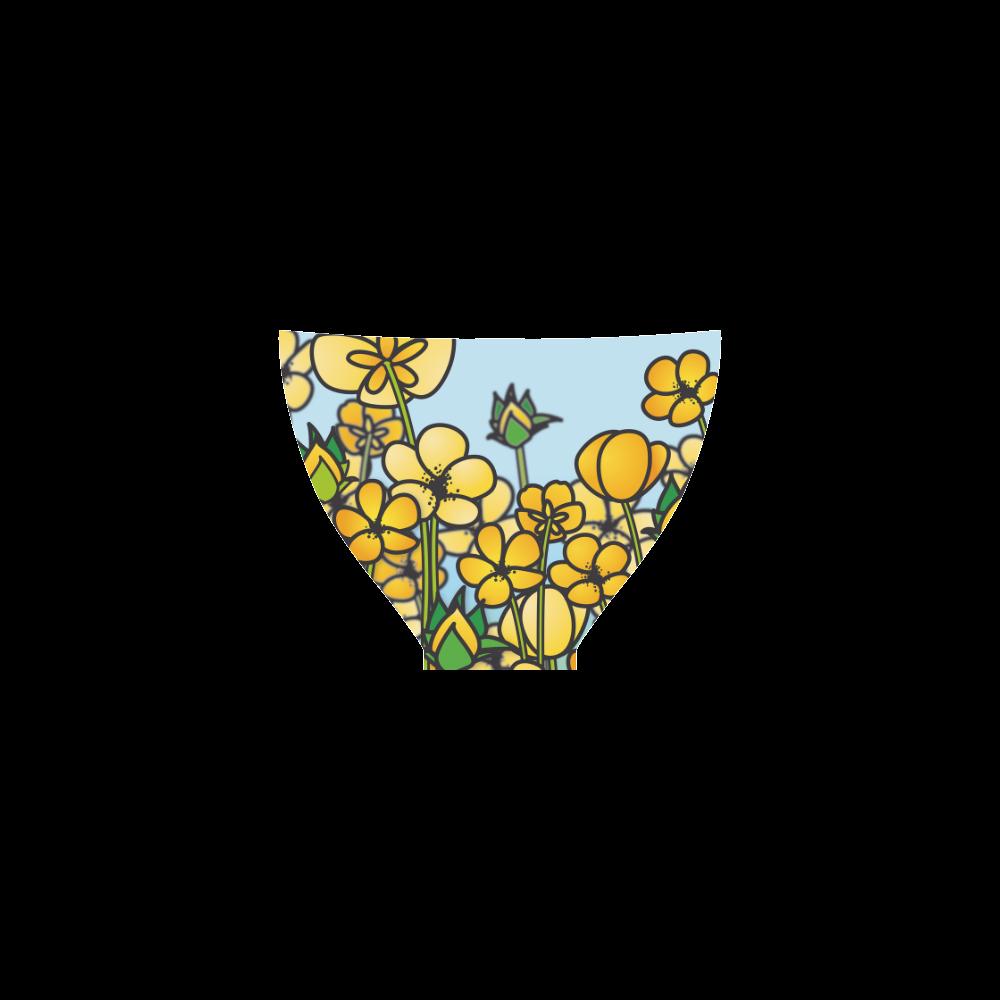 buttercup flower field yellow floral arrangement Custom Bikini Swimsuit