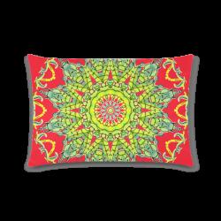 "Lime Green Yellow Leaves Star Matrix Mandala Fire Red Custom Rectangle Pillow Case 16""x24"" (one side)"