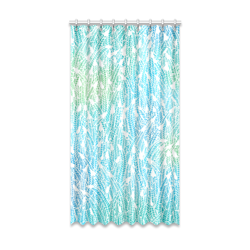 "blue white feather pattern Window Curtain 52"" x96""(One Piece)"