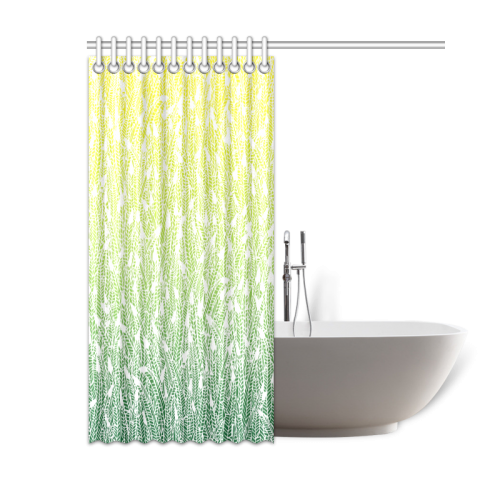"yellow green ombre feathers pattern white Shower Curtain 60""x72"""