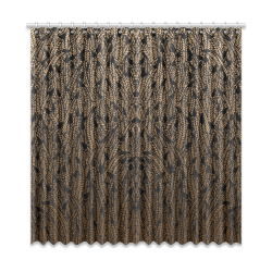 """brown ombre feathers pattern black Window Curtain 52""""x108""""(Two Piece)"""