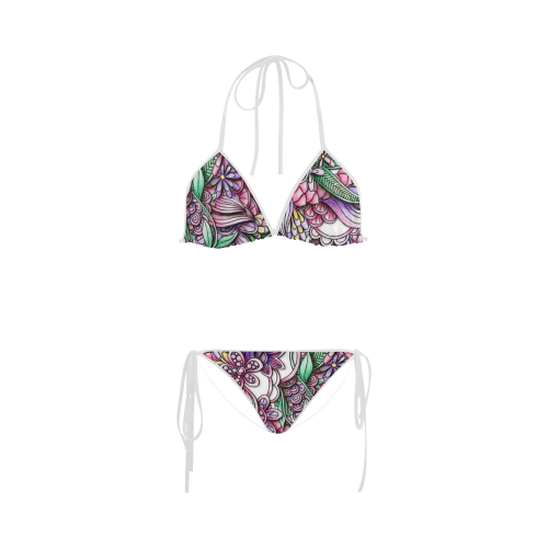 Pink Purple flower drawing Custom Bikini Swimsuit