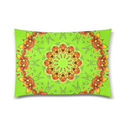 "Dancing Orange Yellow Flowers Ladybugs Mandala Lime Custom Zippered Pillow Case 20""x30"" (one side)"