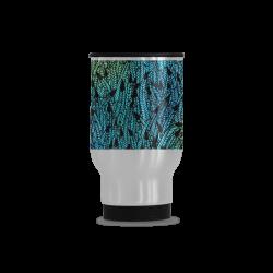 blue black feather pattern Travel Mug (Silver) (14 Oz)