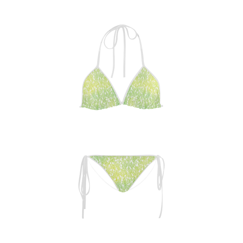 yellow green white feather pattern Custom Bikini Swimsuit