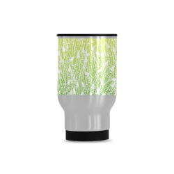 yellow green ombre feathers pattern white Travel Mug (Silver) (14 Oz)