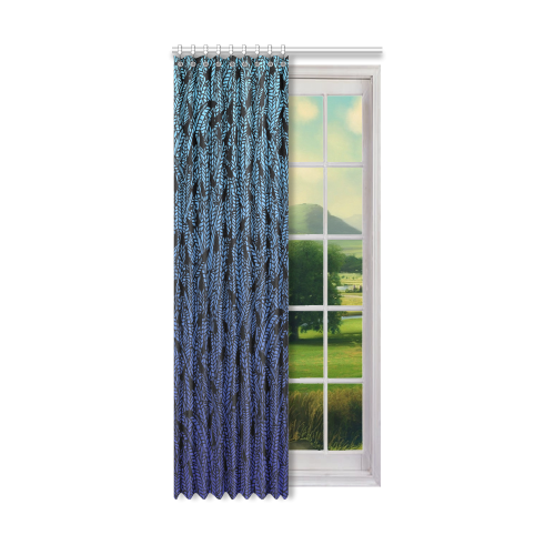 """blue ombre black feather pattern Window Curtain 50"""" x 108""""(One Piece)"""