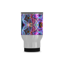 rainbow bubbles mandala abstract art Travel Mug (Silver) (14 Oz)