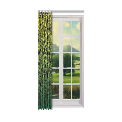 """yellow green ombre feathers pattern black Window Curtain 50"""" x 108""""(One Piece)"""