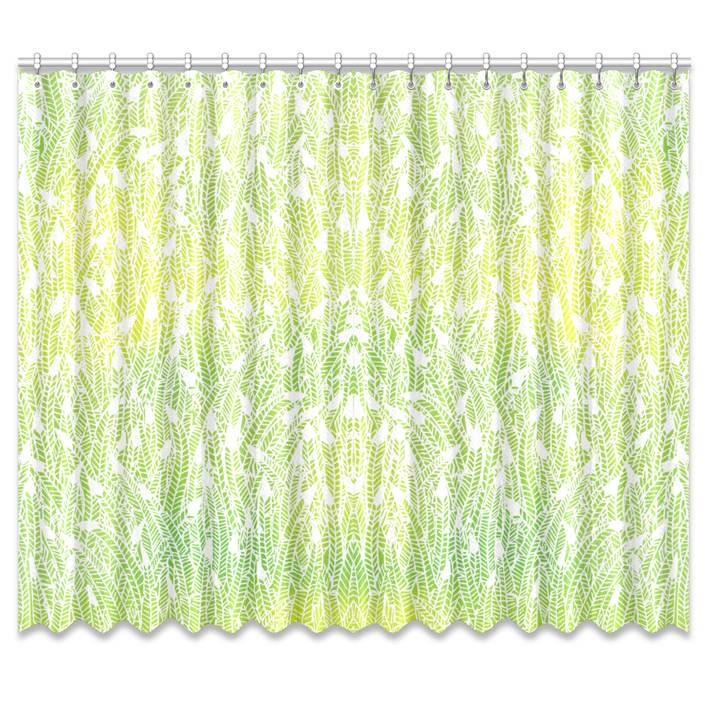 """yellow green white feather pattern Window Curtain 50""""x84""""(Two Piece)"""