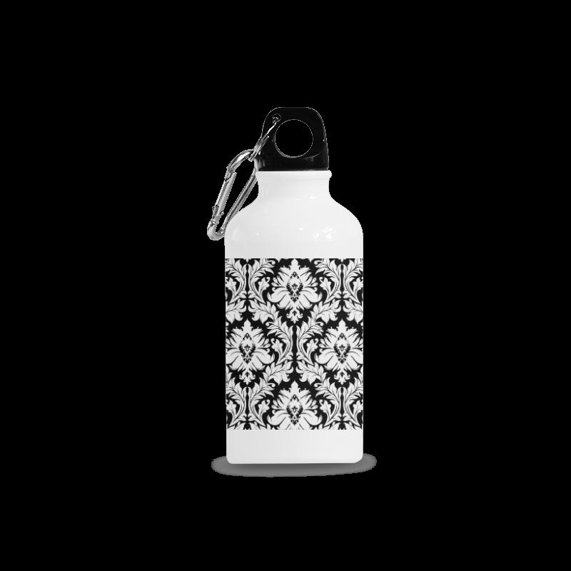 damask pattern black and white Cazorla Sports Bottle(13.5OZ)