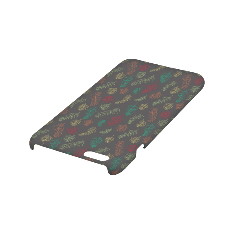 green orange red feather leaves on grey Hard Case for iPhone 6/6s plus