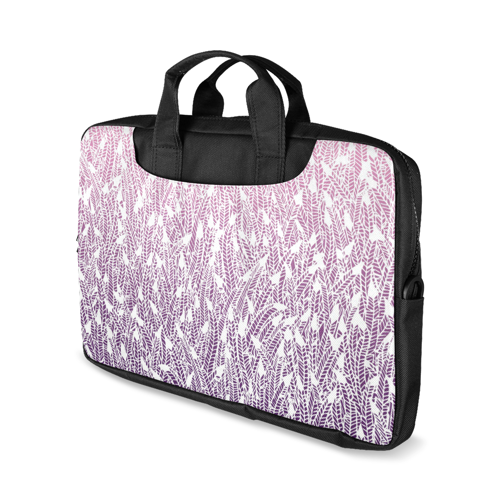 """pink purple ombre feather pattern white Macbook Air 13""""(Twin sides)"""