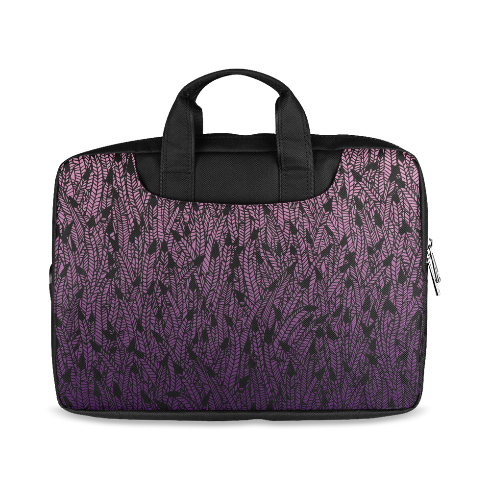 "pink purple ombre feather pattern black Macbook Air 11""(Twin sides)"
