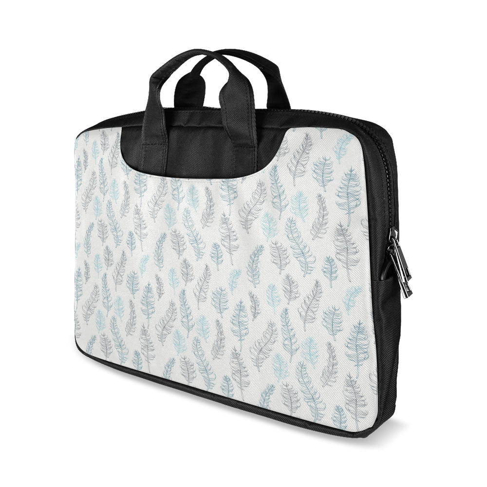 "blue on grey whimsical feathers pattern Macbook Air 11""(Twin sides)"