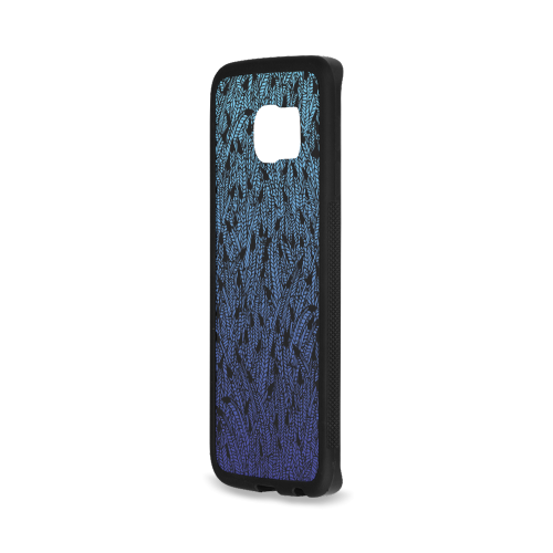 blue ombre black feather pattern Rubber Case for Samsung Galaxy S6 Edge