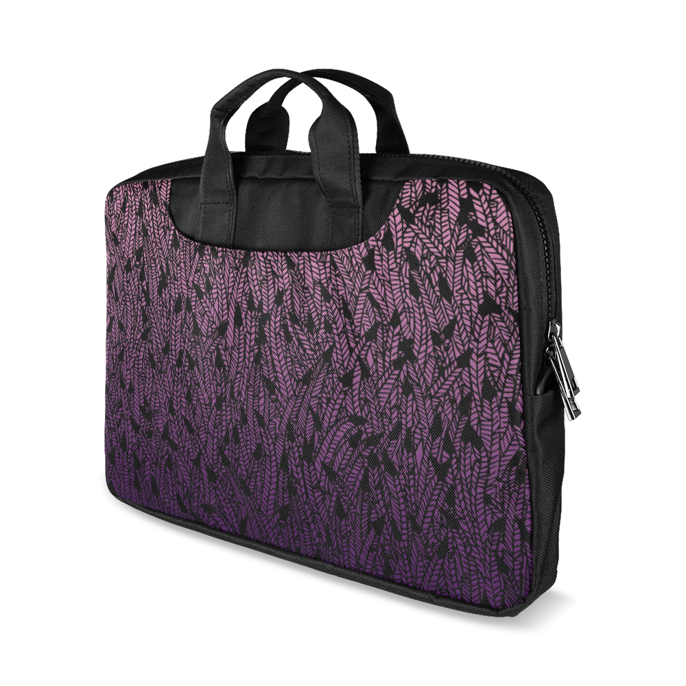 "pink purple ombre feather pattern black Macbook Air 11""(Two sides)"