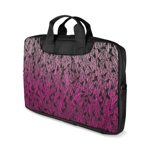 """pink ombre feathers pattern black Macbook Air 11""""(Twin sides)"""
