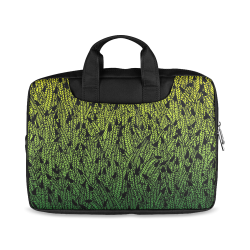 """yellow and green ombre feathers pattern black Macbook Air 11""""(Two sides)"""