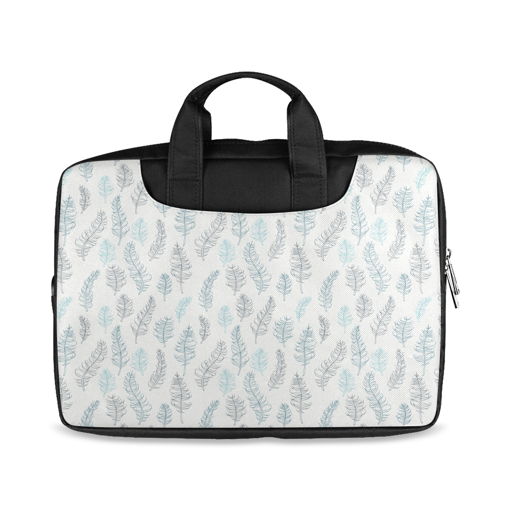 """blue on grey whimsical feathers pattern Macbook Air 13""""(Two sides)"""