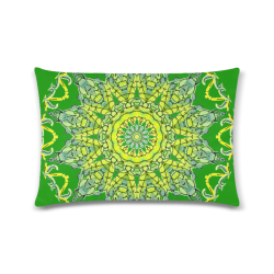 "Lime Green Yellow Leaves Star Matrix Mandala Green Custom Zippered Pillow Case 16""x24""(Twin Sides)"