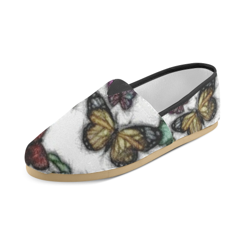 Butterflies and Flowers Unisex Casual Shoes (Model 004)