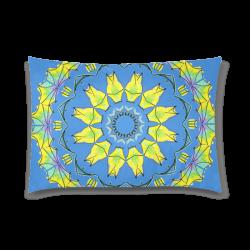 "Yellow Green Purple Flowers Leaves Wheel Mandala Blue Custom Zippered Pillow Case 20""x30""(Twin Sides)"