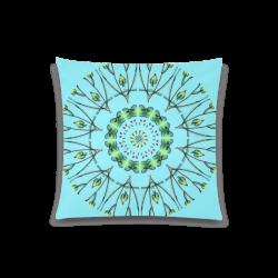 "Glowing Green Flower Vines Branches Matrix Mandala Azure Custom Zippered Pillow Case 20""x20""(Twin Sides)"