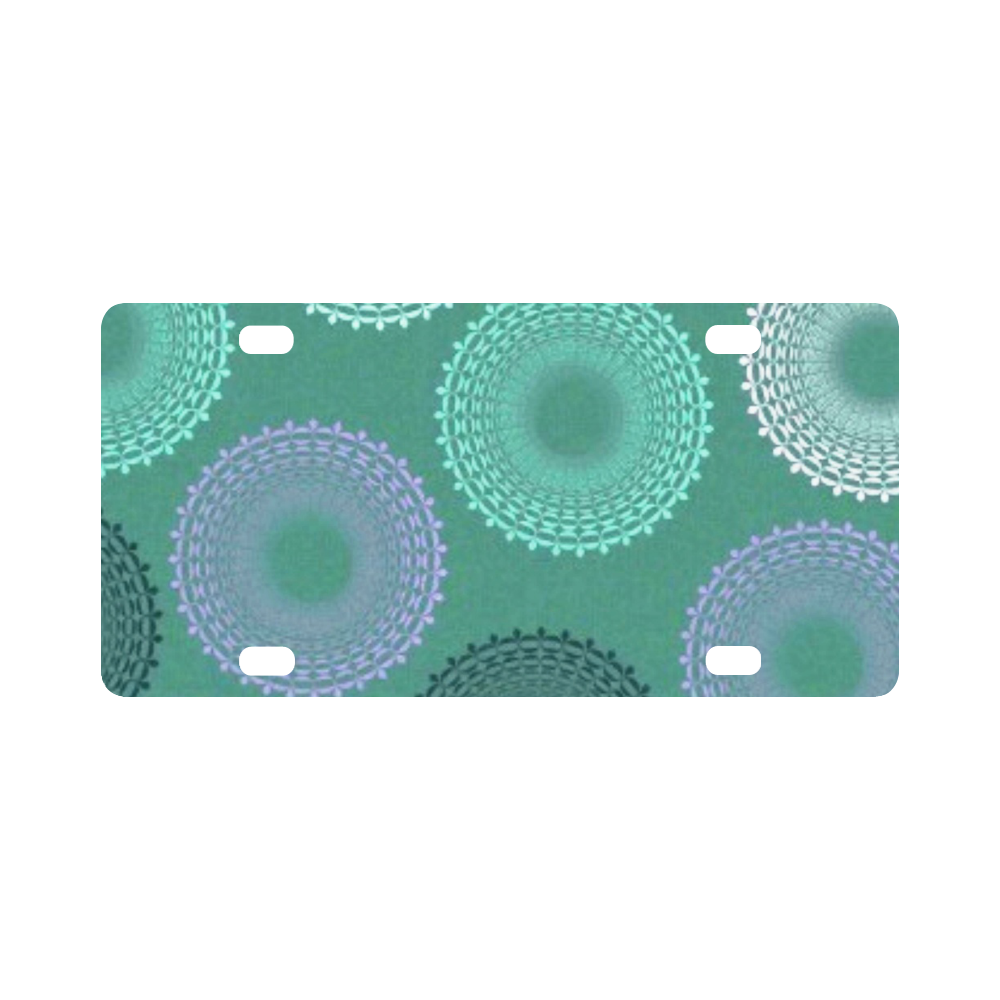 Teal Sea Foam Green Lace Doily Classic License Plate