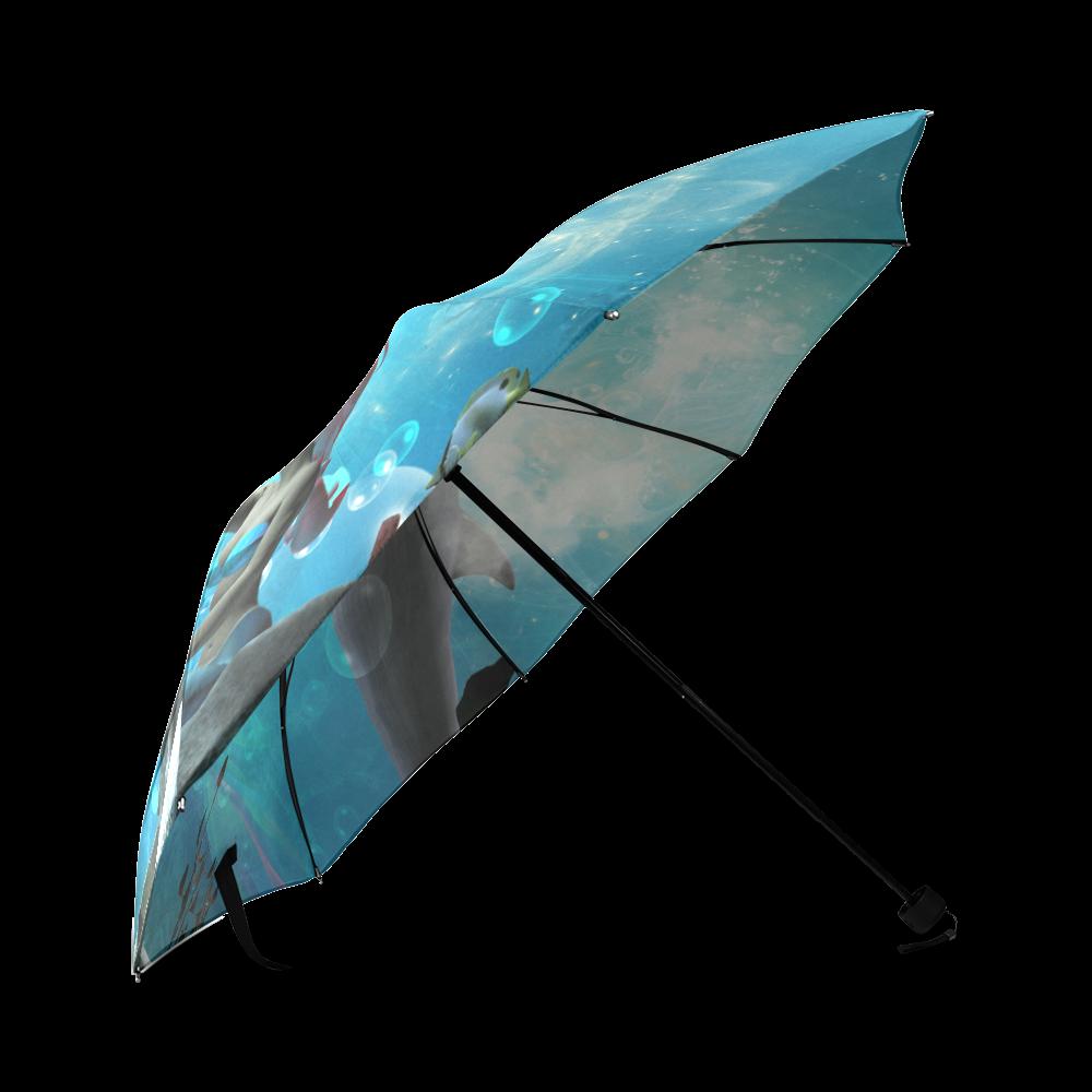 Dolphin with mermaid Foldable Umbrella (Model U01)