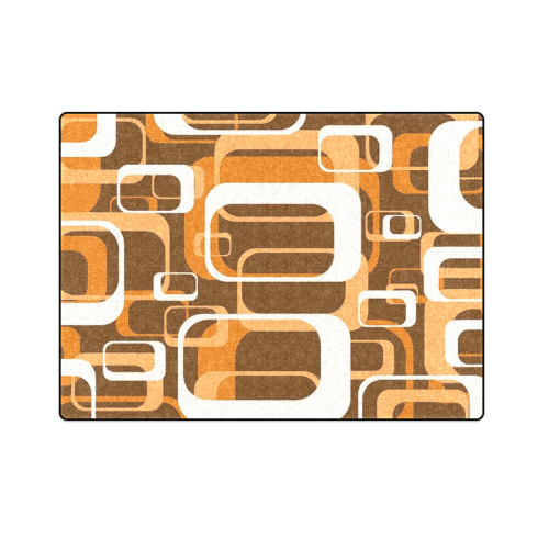 "retro pattern 1971 orange Blanket 58""x80"""