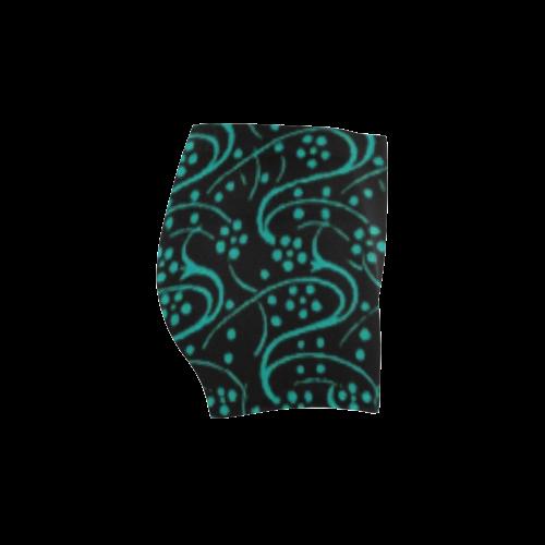 Vintage Swirl Floral Teal Turquoise Black Briseis Skinny Shorts (Model L04)