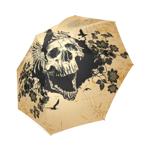 Awesome skull with crow Foldable Umbrella (Model U01)