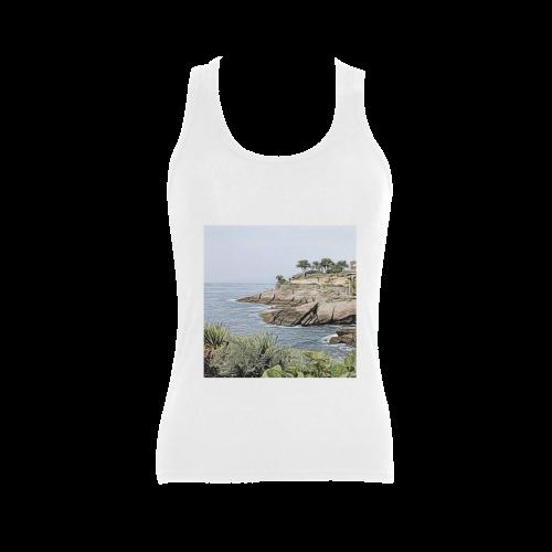 Travel Tenerife, painted Women's Shoulder-Free Tank Top (Model T35)