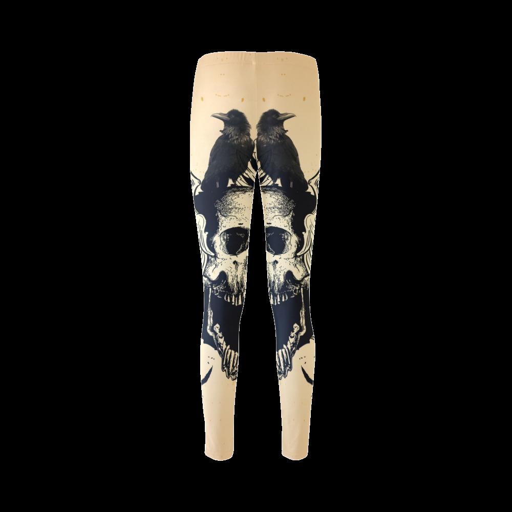 Awesome skull with crow Cassandra Women's Leggings (Model L01)