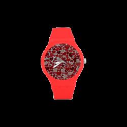 sparkling hearts, red Unisex Round Rubber Sport Watch(Model 314)